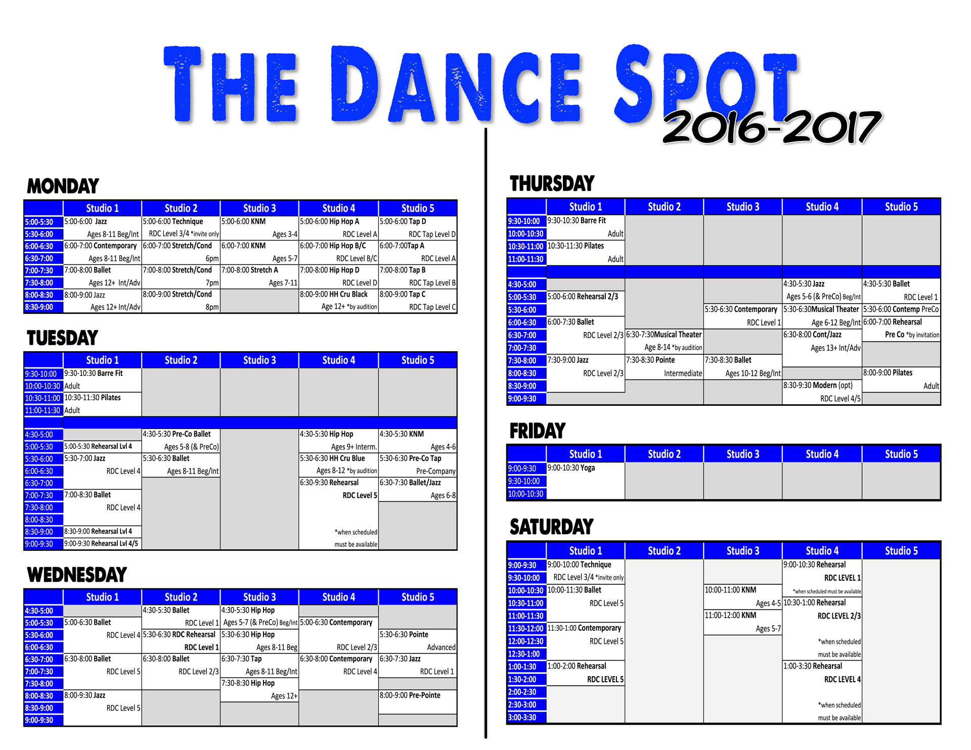 2016-2017 Fall Class Schedule!